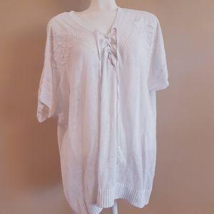 Torrid | lace up tassels linen & cotton knit top